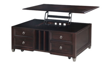 The Darien Lift Top Cocktail Table is constructed from ash veneer and hardwood solids and has a burnt umber finish