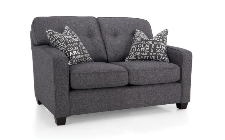 2298 loveseat is a transitional loveseat in charcoal fabric with button tufted back