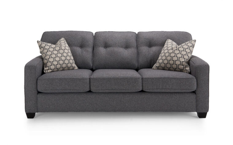 2298 sofa is a transitional sofa in a dark charcoal fabric with tufted back cushions