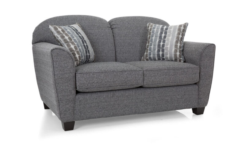 transitional loveseat the 2317 loveseat is shown in a charcoal fabric with tapered arms and fun accent pillow