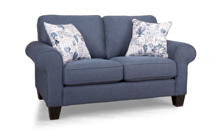 2323 loveseat is a traditional loveseat in a navy denim fabric with rolled arms and large legs