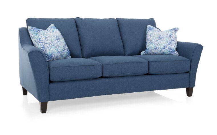 2342 sofa is a contemporary sofa in a blue fabric with light blue pillows and curved arms