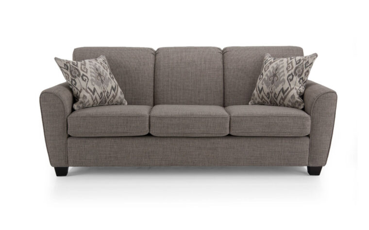 2404 sofa is a transitional sofa shown in a dark charcoal fabric with espresso wood finish and fun toss cushions