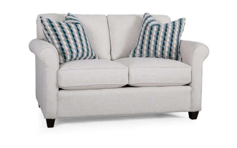 2460 loveseat is a traditiona loveseat design shown in a white fabric with striped navy and white toss cushions