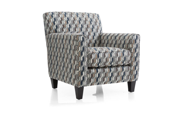 2468 chair is a transitional chair shown in a blue and black patterned fabric with dark wood finish