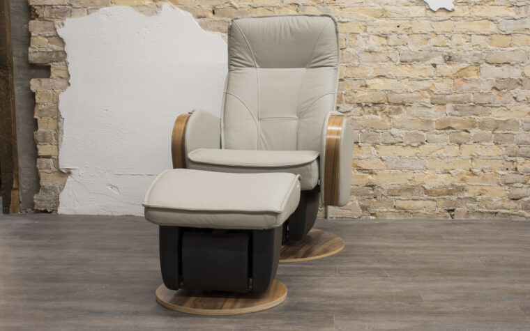 274t30 Glider from Dutailier with gliding ottoman (leather upholstery)