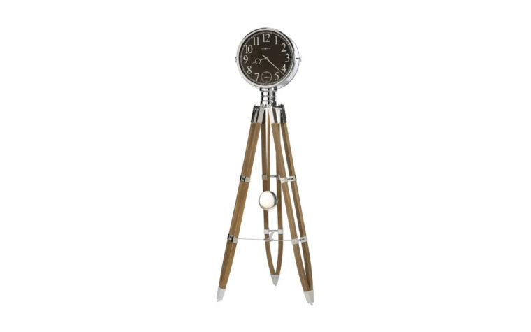 615-071 chaplin ii is a modern floor clock that is battery operated and has a driftwood finish on the legs
