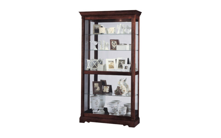 dublin curio cabinet is a beautiful traditional curio cabinet with a windsor cherry finish and glass sliding door