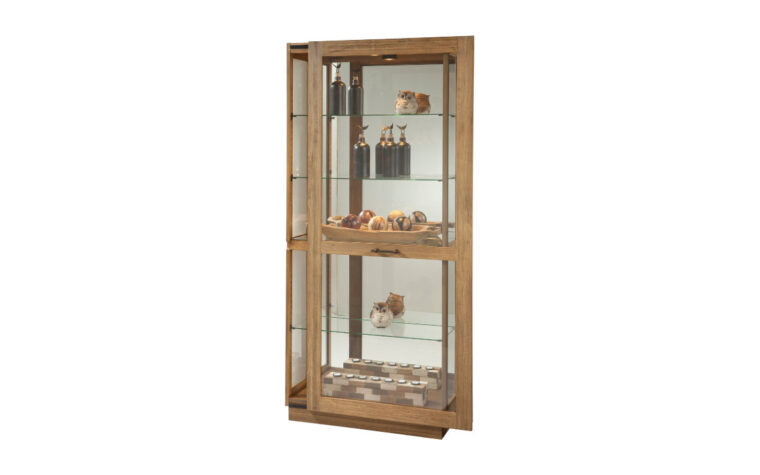 marsh bay curio cabinet is finsihed in a driftwood finish giving it a rustic and cottage appearance in style