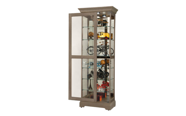 martindale vi from howard miller is a transitional curio cabinet with glass and finished in a aged grey finish