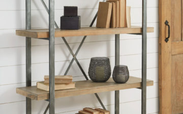 forestmin is an industrial shelf that combines wood shelves with metal braces. Will look great in an industrial loft. Shelf has four shelves