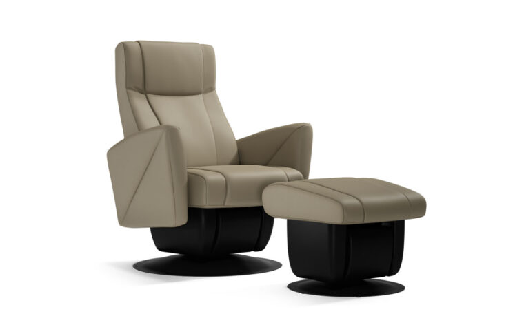 Austin chair and ottoman by Dutalier in beige