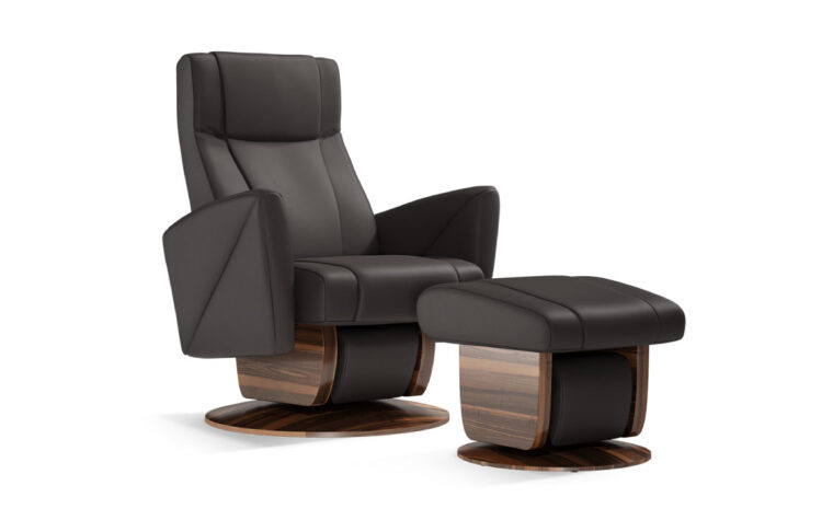 Austin chair and ottoman by Dutalier in black
