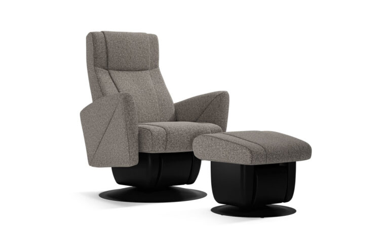 Austin chair and ottoman by Dutalier in grey fabric