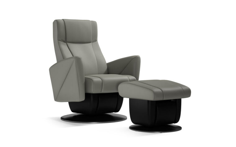 Austin chair and ottoman by Dutalier in grey leather