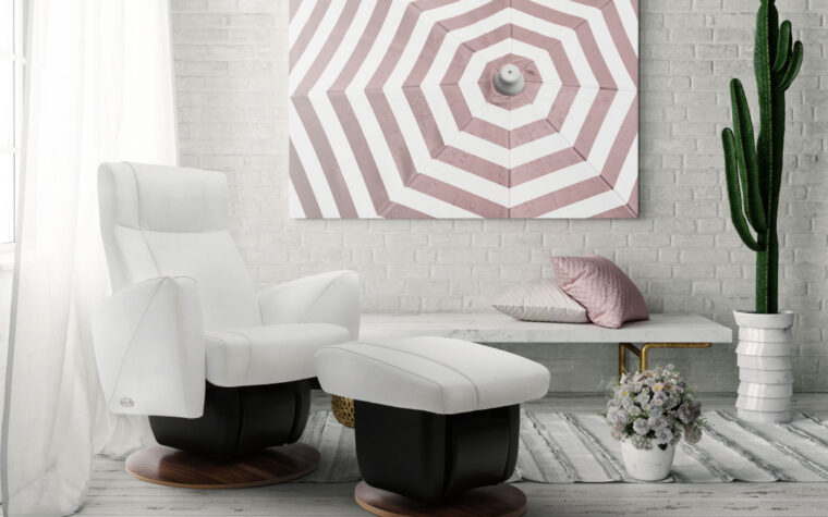 White Austin chair and ottoman by Dutalier in living room