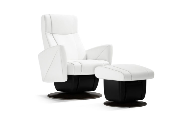 Austin chair and ottoman by Dutalier in white with black base
