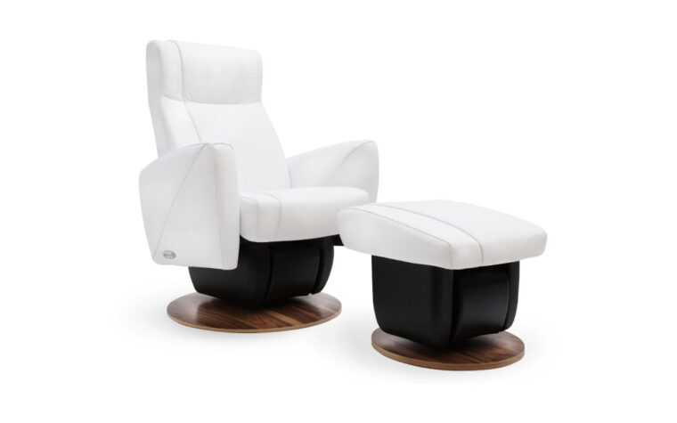 Austin chair and ottoman by Dutalier in white with wood base