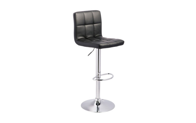bellatier barstool is a contemporary and modern swivel barstool in a black leather with chrome tone base