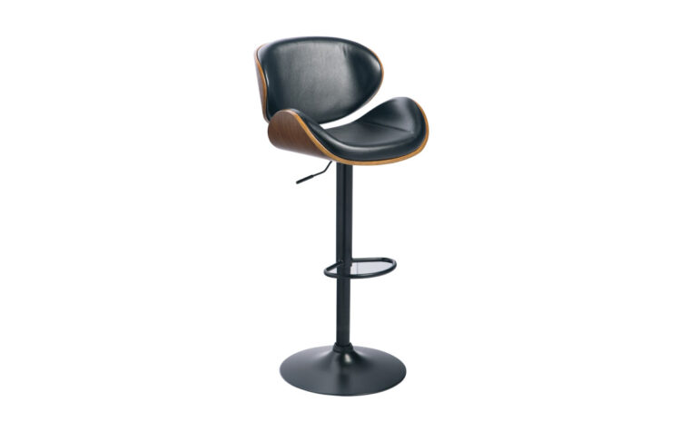 bellatier barstool is a industrial barstool in black leather and medium wood finishes