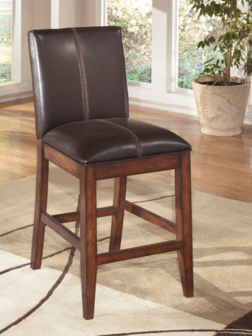 larchmont barstool is a traditional barstool with leather seat and wood base