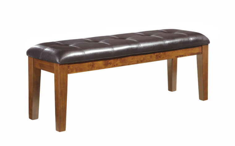ralene bench is a traditional dining room bench with leather otp and tufting and wood base in medium finish