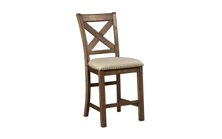 moriville barstool is a traditional barstool with a light tan fabric seat with nailhead trim and grey toned stain