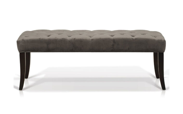 didi bench is a beautiful traditional bench with a velvet fabric, espresso wood finish and tufting on the seat
