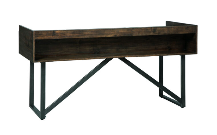 starmore desk is a beautiful office desk with open shelf and industrial style legs and reclaimed wood