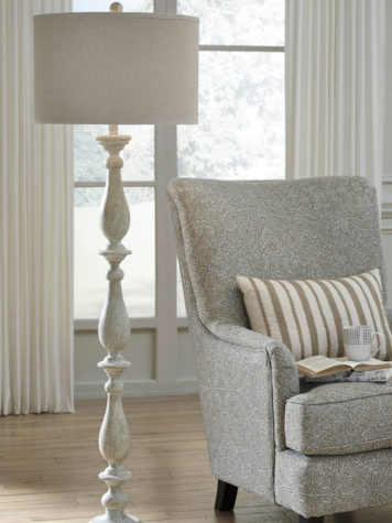 bernadate floor lamp is a cottage styled lamp with traditional elegance in a white distressed finish and white cover