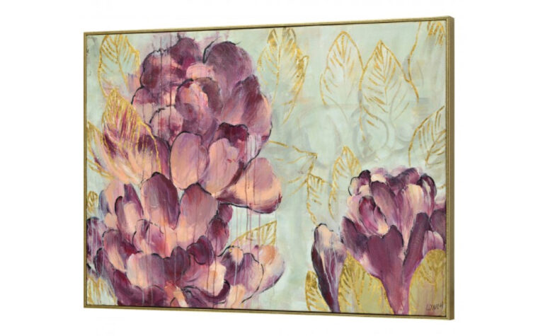 barkis painting is a transitional painting with gold leaf accents and pink flowers