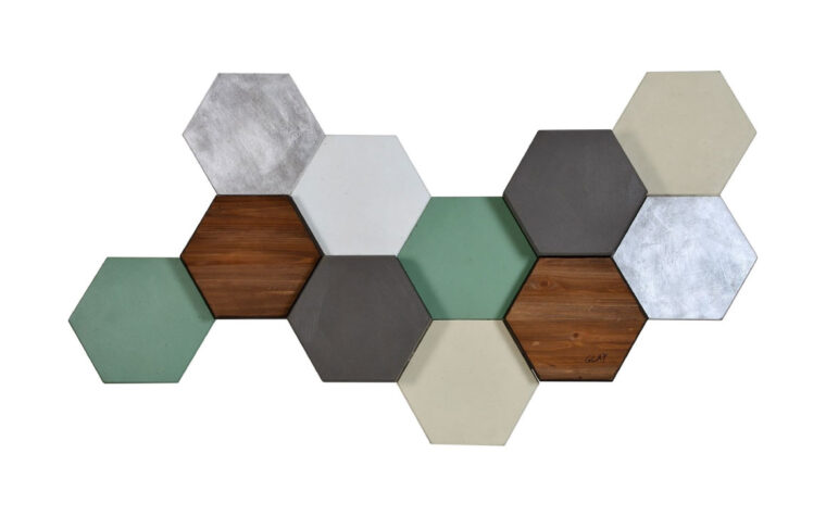 hexa pastel is a beautiful multi-level wood boxes with turquoise, wood, grey, and marble colors combined