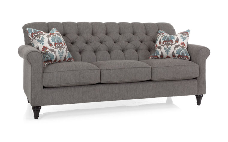 2478 sofa is a traditional sofa with tufting on the back, espresso wood finish and a grey fabric