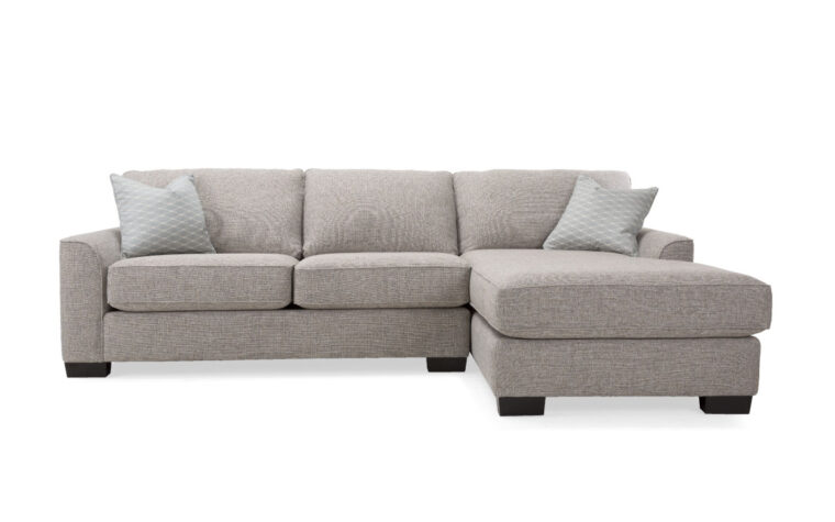2786 sofa with chaise is a contemporary sectional with a charcoal fabric and wide feet on it