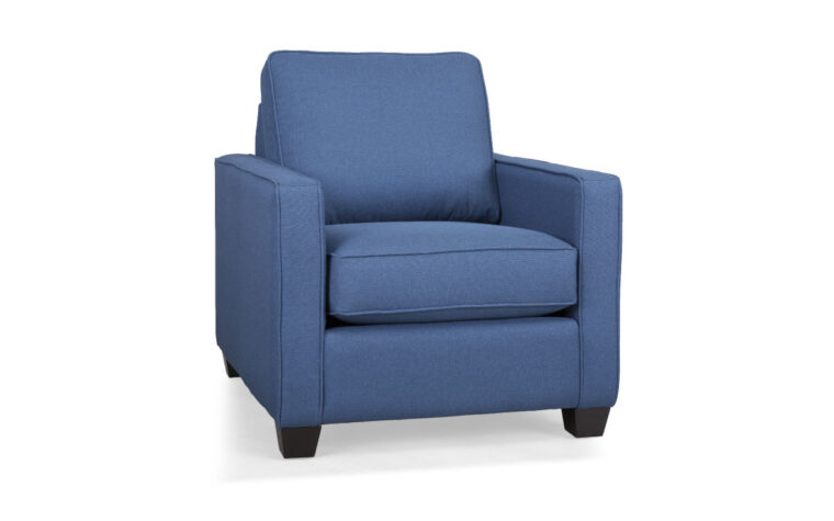 contemporary chair design in a blue fabric with espresso wood finish