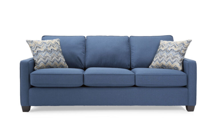 2855S sofa is a transitional sofa with 3 seat cushions, square arms and in a blue fabric