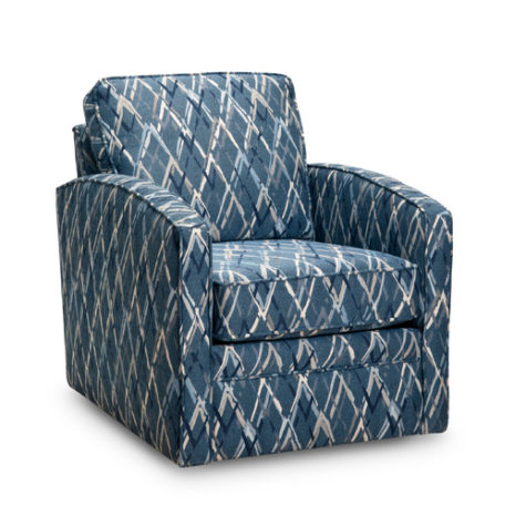 37 swivel chair from superstyle is a transitional chair with blue fabric and a swivel base