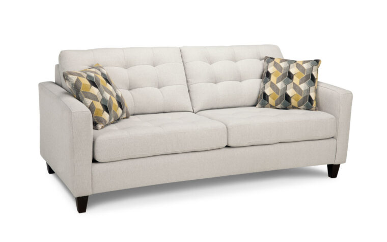4709 sofa is a trendline sofa with amodern design, tufting on the back and shown in a white fabric