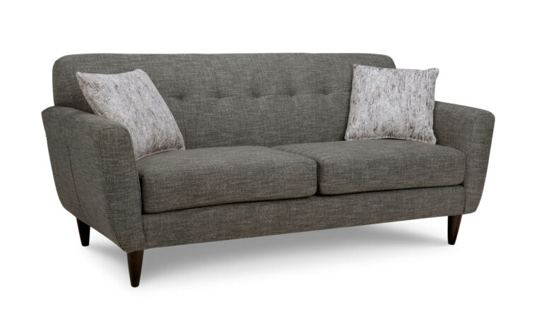 4740 sofa is a mid-century modern sofa shown in a charcoal fabric with wood legs