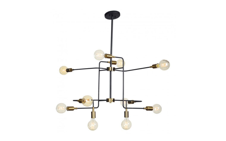 europa chandelier is a beutiful, industrial chandelier with exposed bulbs and black and gold finishes