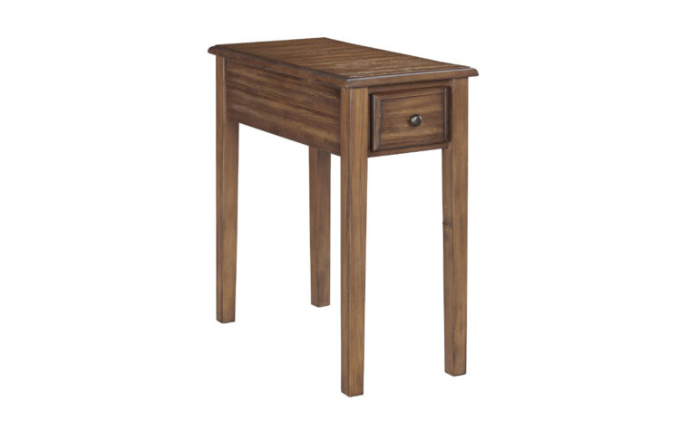 traditional end table with one drawer and multiple wood finishes