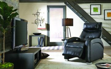 ZG5 Zero Gravity Chair in a brown fabric with back tufting and featuring zero gravity feature for relaxation and health purposes