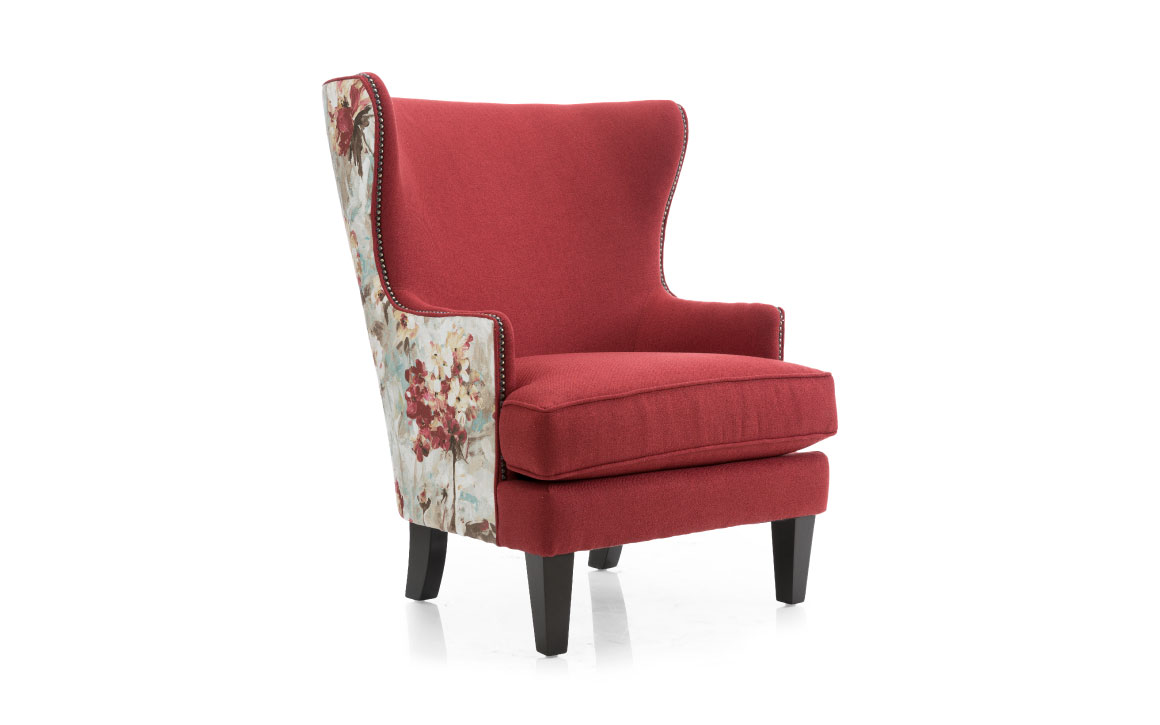 2492 chair is a wing chair in a red velvet fabric with red and cream floral