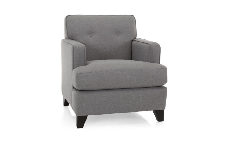 2432 chair is a transitional chair with small button tufting on the back of the chair and a minimalistic design featuring a grey fabric