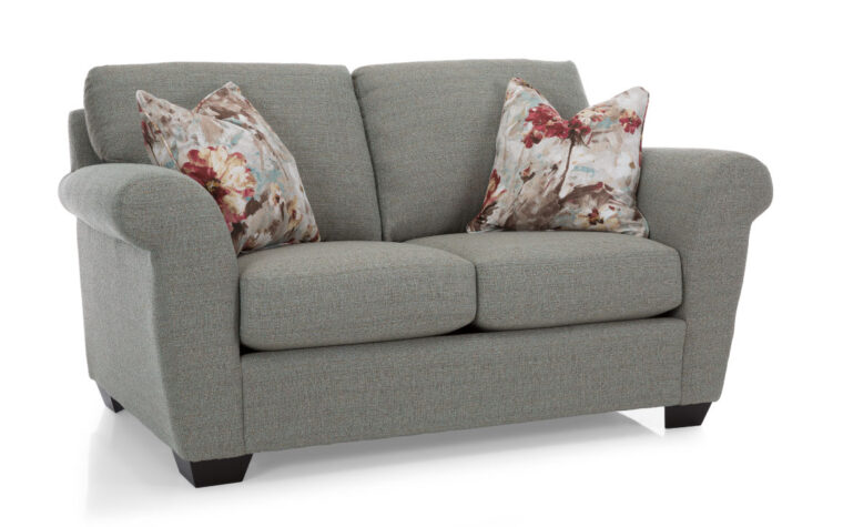 2553 loveseat is a traditional sofa with curved arms, grey fabric, and red and white toss cushions