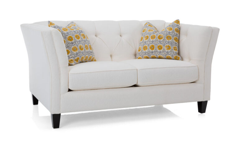 2555 loveseat is a traditional sofa with two seat cushions and a tufted back in a white fabric