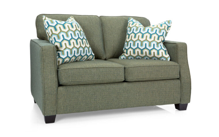 2570 loveseat is a green sofa with blue and geen accent pillows and great for a transitional living room