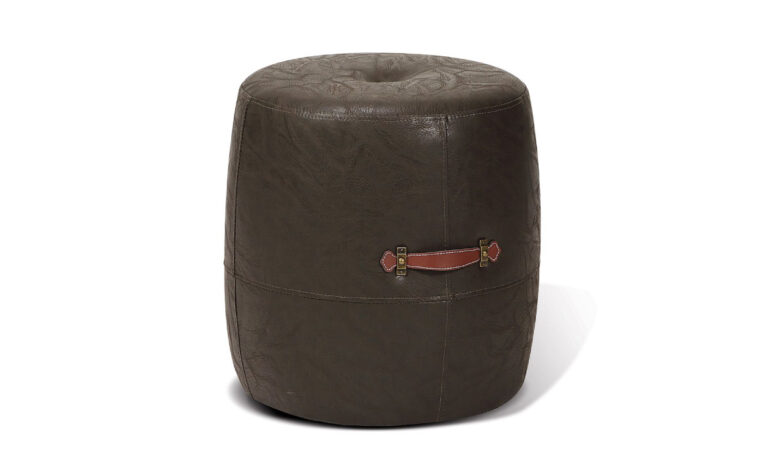 alto drum stool is a transitional drum stool in a brown leather ith brown leather carrying straps