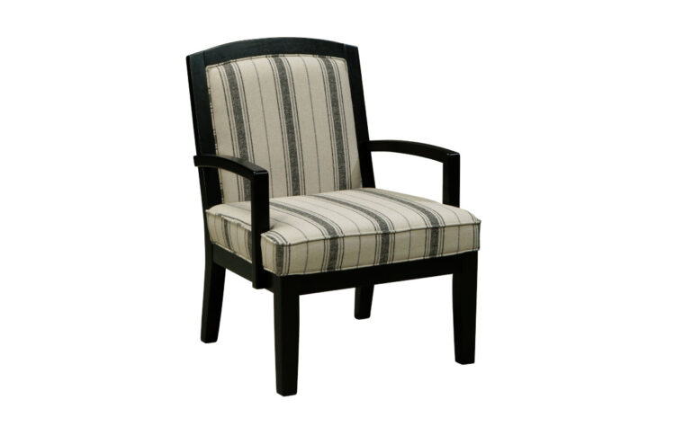 alenya chair form ashley home furnishings with dark black show wood frame and a white and black striped fabric seat