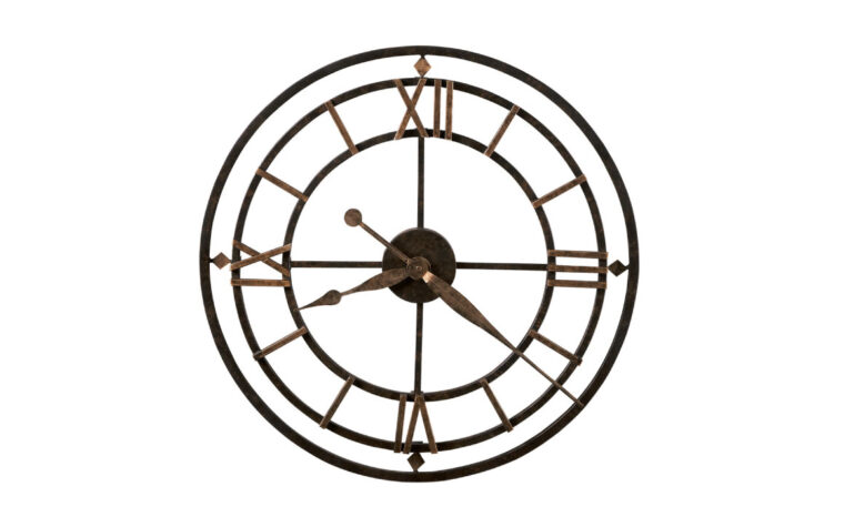 york station is an industrial wall clock in gold and black with roman numerals